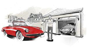 Zeichnung, VW Käfer, Alfa Romeo Spider