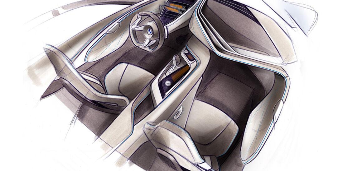 Zeichnung eines BMW-Cockpit