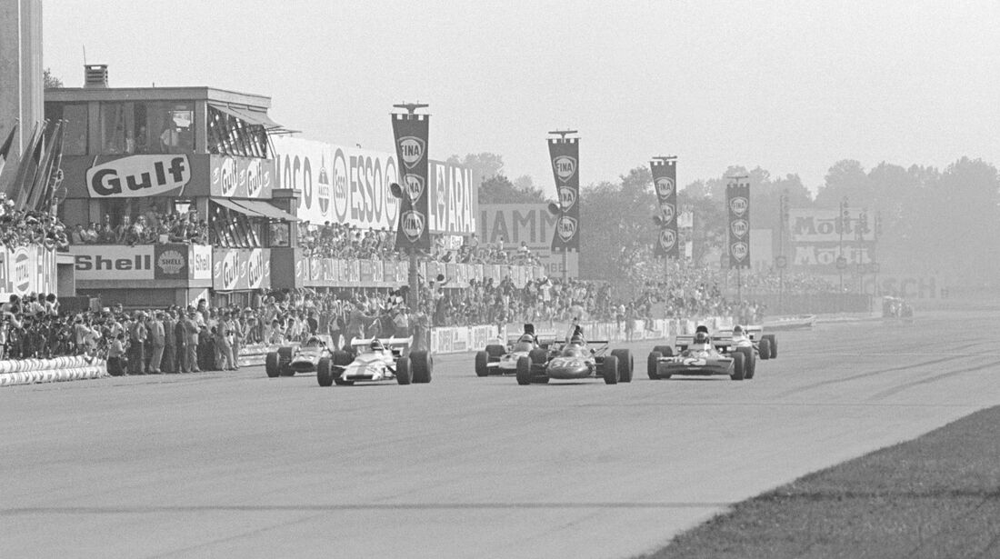 Zieleinlauf - Peter Gethin - Ronnie Peterson - Francois Cevert - GP Italien 1971 - Monza