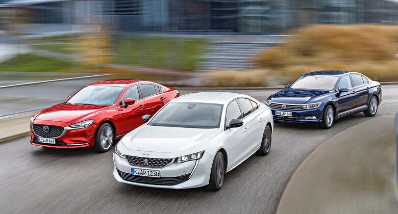 ams0419, Vergleichstest, Mazda 6 D 150, Peugeot 508 BLUEHDi 160, VW Passat 2.0 TDI, Exterieur