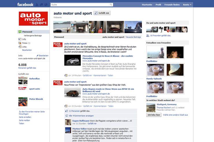 auto motor und sport Facebook-Fan-Seite 2011