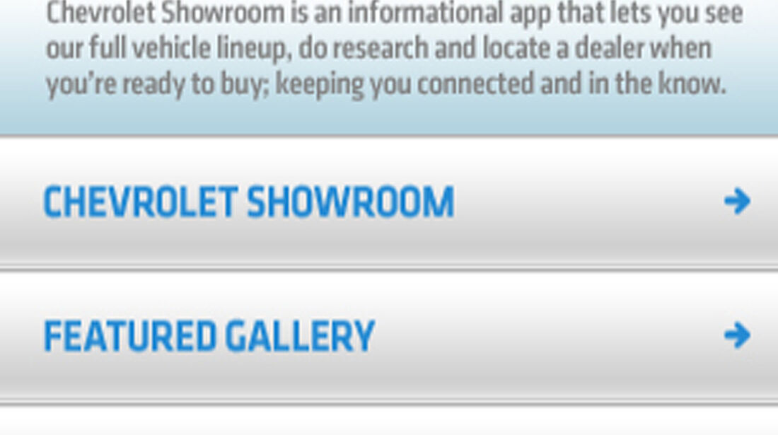 iPhone App Chevrolet, Händlerfinder, iPad, iPhone