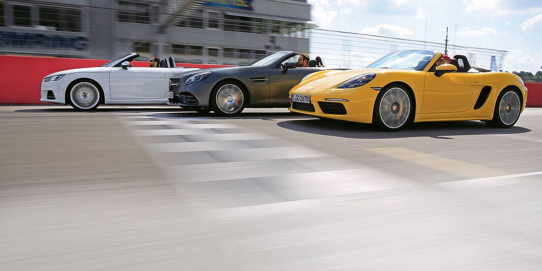 sport auto 9/2016 - Roadster - Audi TTs Roadster - Mercedes-AMG SLC 43 - Porsche 718 Boxster